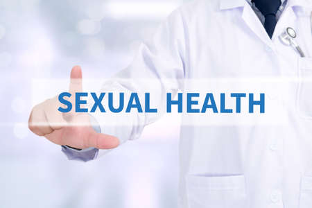 sexual health: SEXUAL HEALTH Medicine doctor working with computer interface as medical