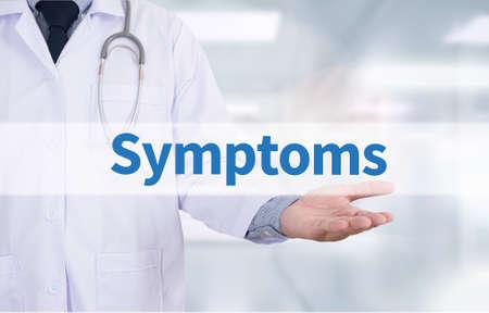 Symptoms Medicine doctor hand working Stock Photo