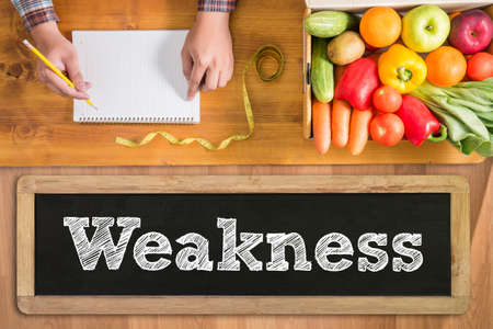 weakness: Weakness fresh vegetables and  on a wooden table Stock Photo