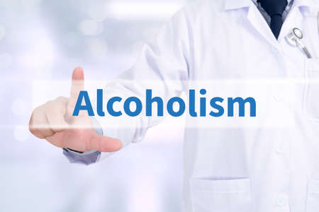 inebriation: Alcoholism Medicine doctor working with computer interface as medical