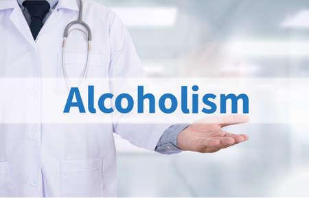 dipsomania: Alcoholism Medicine doctor hand working