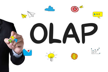online analytical processing: OLAP - Online Analytical Processing and Businessman drawing Landing Page on white background Stock Photo