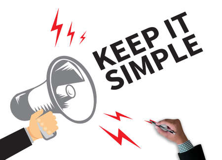 cogent: KEEP IT SIMPLE businessman work on white broad, top view Stock Photo