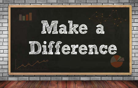 Make a Difference on brick wall and chalkboard background
