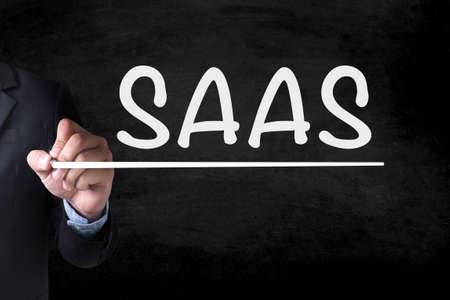 saas fee: SAAS and Businessman drawing  Page on blackboard