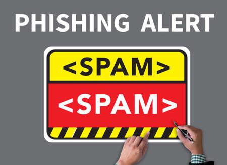 phishing: PHISHING ALERT businessman work on white broad, top view