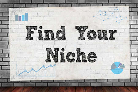 niche: Find Your Niche on brick wall and poster concept