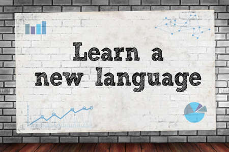 fluency: Learn a new language on brick wall and poster concept
