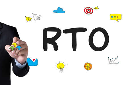 disruption: RTO - Recovery Time Objective  and Businessman drawing Landing Page on white background