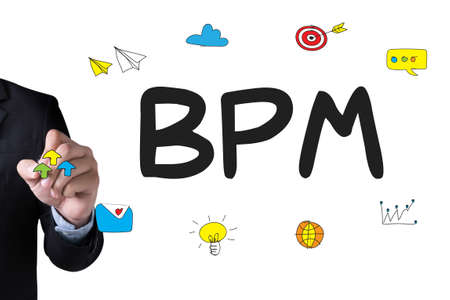 bpm: BPM - Business Process Management  and Businessman drawing Landing Page on white background Stock Photo