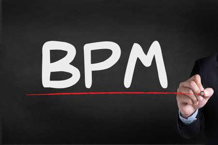 bpm: BPM - Business Process Management  Businessman drawing Landing Page on blackground