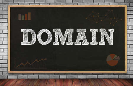domain: DOMAIN on brick wall and chalkboard background Stock Photo