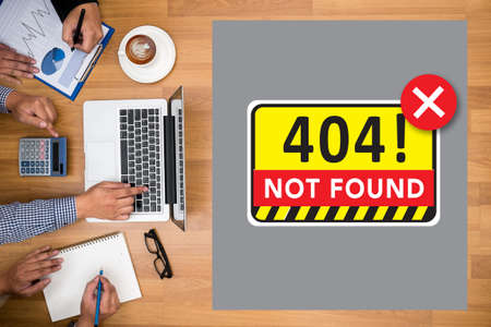 found: Not Found 404 Error Failure Warning Problem Stock Photo