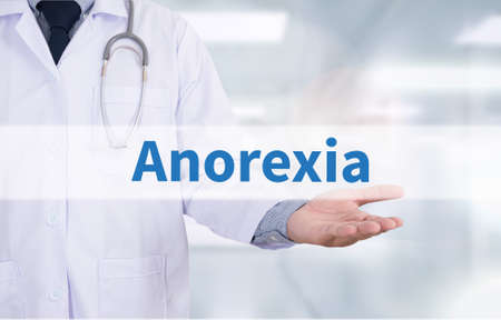 anorexia: Anorexia Medicine doctor hand working Stock Photo