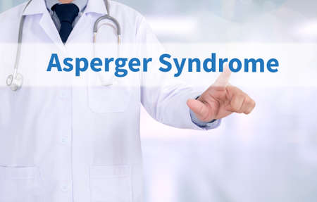 asperger syndrome: Asperger Syndrome Medicine doctor working with computer interface as medical Stock Photo