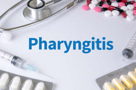 pharyngitis: Pharyngitis Text, On Background of Medicaments Composition, Stethoscope, mix therapy drugs doctor flu antibiotic pharmacy medicine medical