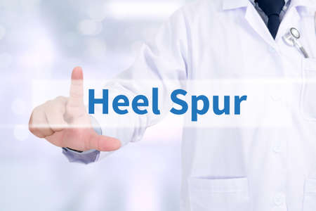 plantar: Heel Spur Medicine doctor working with computer interface as medical