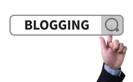 man pushing: BLOGGING man pushing (touching) virtual web browser address bar or search bar