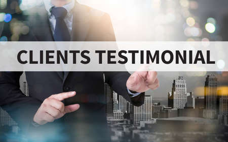 affirmations: CLIENT TESTIMONIAIS and businessman working with modern technology Stock Photo