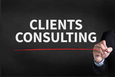 managerial: CLIENTS CONSULTING Businessman drawing Landing Page on blackground