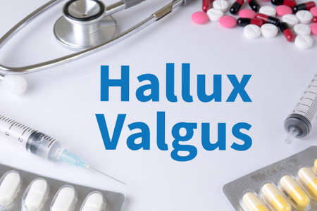 Hallux Valgus Text, On Background of Medicaments Composition, Stethoscope, mix therapy drugs doctor flu antibiotic pharmacy medicine medical