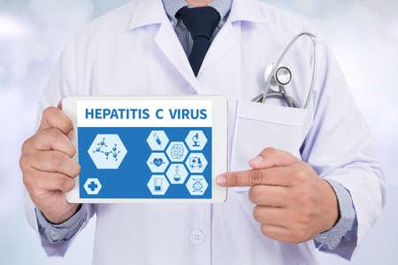 prevention of disease: HEPATITIS C VIRUS Doctor holding  digital tablet