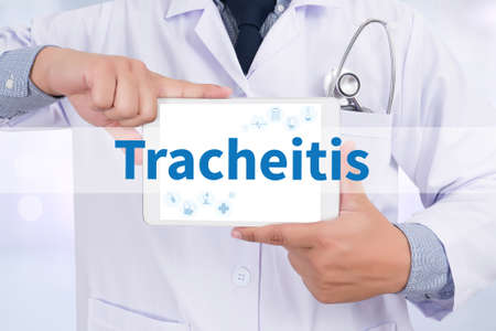 pharyngitis: Tracheitis Doctor holding  digital tablet