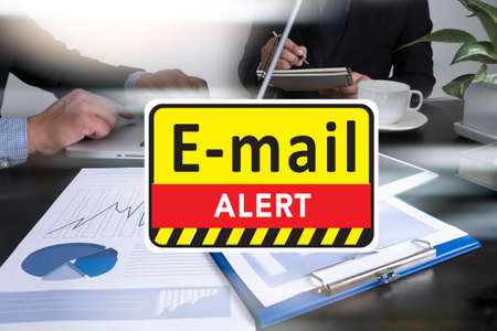 hacked: E-mails Hacked Warning Digital Browsing and virus Stock Photo