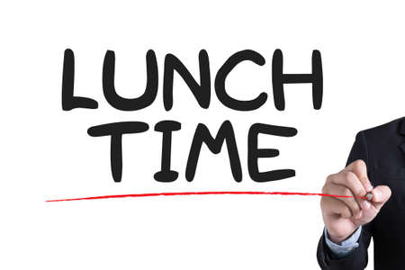 breakout: LUNCH TIME Businessman hand writing with black marker on white background