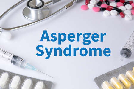 asperger syndrome: Asperger Syndrome Text, On Background of Medicaments Composition, Stethoscope, mix therapy drugs doctor flu antibiotic pharmacy medicine medical
