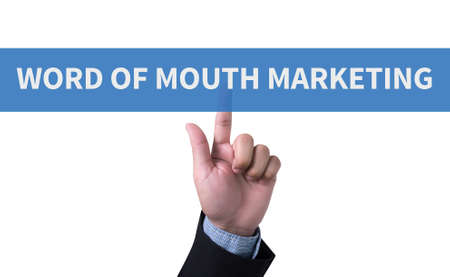 buzz word: WORD OF MOUTH MARKETING man pushing (touching) virtual web browser address bar or search bar