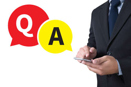 qa: Q&A - Question and Answer businessman working use smartphone
