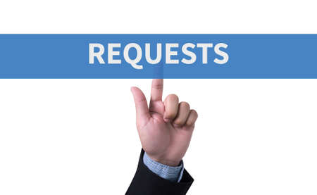 solicit: REQUESTS man pushing (touching) virtual web browser address bar or search bar