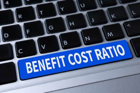ratio: BENEFIT COST RATIO a message on keyboard