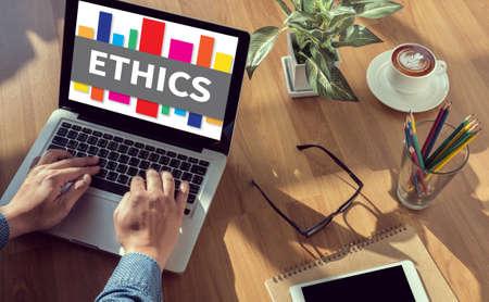 work ethic responsibilities: ETHICS man hand on table Business, coffee, Split tone