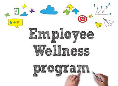 Employé de programme de bien-être programme travailler sur blanc large, vue de dessus