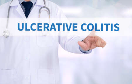 colonoscopy: ULCERATIVE COLITIS Medicine doctor working with computer interface as medical