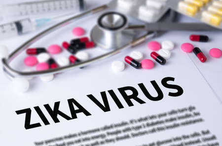 ZIKA VIRUS and Background of Medicaments Composition, Stethoscope, mix therapy drugs doctor and selectfocus