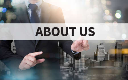 ABOUT US and businessman working with modern technology