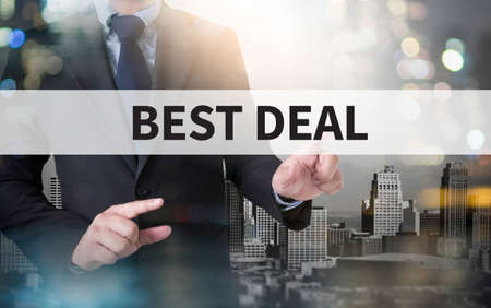 technology deal: BEST DEAL and businessman working with modern technology