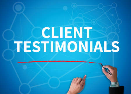 affirmations: CLIENT TESTIMONIALS businessman work on white broad, top view