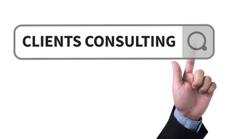 managerial: CLIENTS CONSULTING man pushing (touching) virtual web browser address bar or search bar