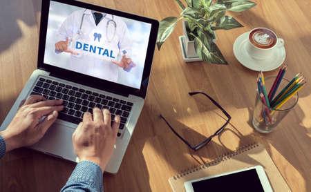 dental insurance: DENTAL INSURANCE man hand on table Business, coffee, Split tone