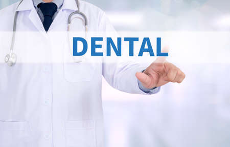 dental insurance: DENTAL INSURANCE Medicine doctor working with computer interface as medical