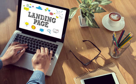 LANDING PAGE  (SEO concept) man hand on table Business, coffee, Split tone