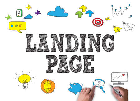 broad: LANDING PAGE  (SEO concept) businessman work on white broad, top view