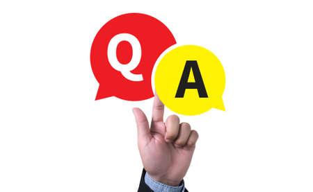 man pushing: Q&A - Question and Answer man pushing (touching) virtual web browser address bar or search bar