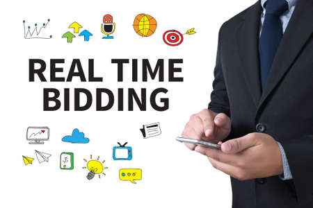 bidding: REAL TIME BIDDING businessman working use smartphone