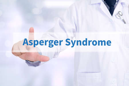 asperger: Asperger Syndrome Medicine doctor working with computer interface as medical Stock Photo