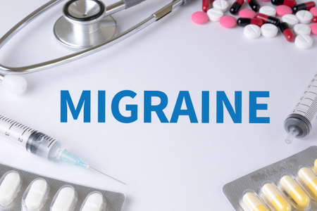 excitation: MIGRAINE Text, On Background of Medicaments Composition, Stethoscope, mix therapy drugs doctor flu antibiotic pharmacy medicine medical